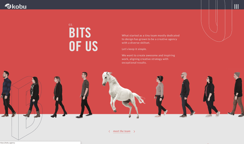 "KOBU's website features imagery that has the subjects cut out instead of a standard image, allowing the design to flow between the ""cut-outs"" of their team members."